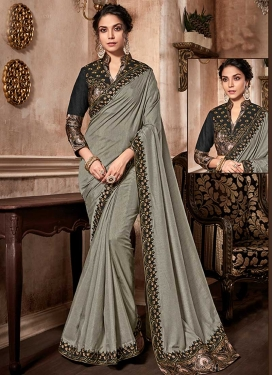 Embroidered Work Art Silk Black and Grey Designer Contemporary Saree