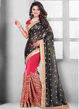 Embroidered Work Art Silk Black and Rose Pink Half N Half Trendy Saree