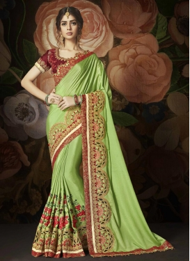 Embroidered Work  Art Silk Classic Designer Saree