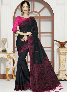 Embroidered Work Art Silk Classic Saree