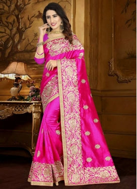 Embroidered Work Art Silk Classic Saree For Ceremonial