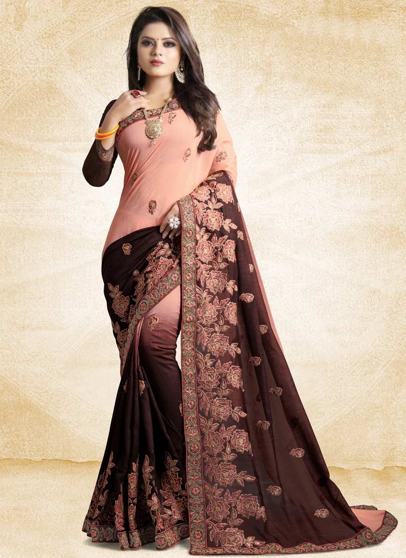 Embroidered Work Art Silk Coffee Brown and Salmon Trendy Saree
