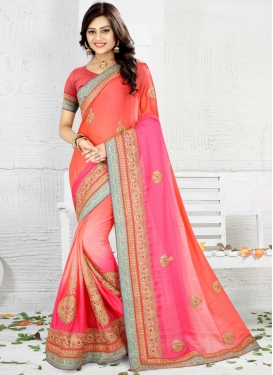 Embroidered Work Art Silk Contemporary Style Saree