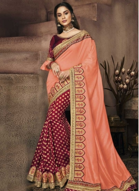 Embroidered Work Art Silk Coral and Crimson Half N Half Trendy Saree