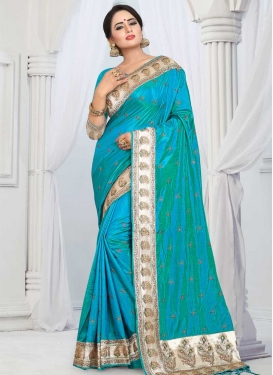 Embroidered Work Art Silk Designer Contemporary Saree