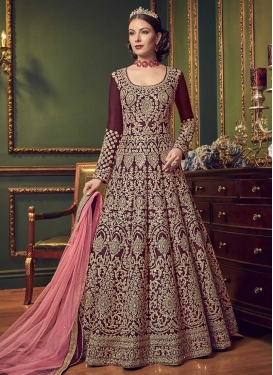 Embroidered Work Art Silk Floor Length Anarkali Salwar Suit