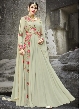 Embroidered Work Art Silk Floor Length Designer Salwar Suit