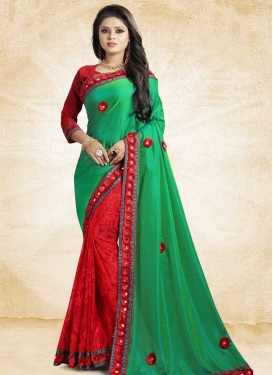 Embroidered Work Art Silk Green and Red Half N Half Saree