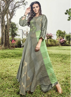 Embroidered Work Art Silk Grey and Mint Green Readymade Floor Length Gown