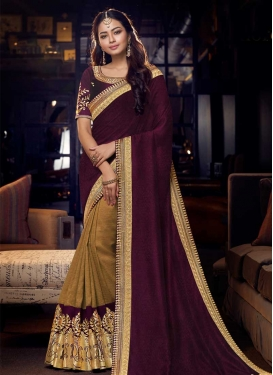 Embroidered Work Art Silk Half N Half Trendy Saree