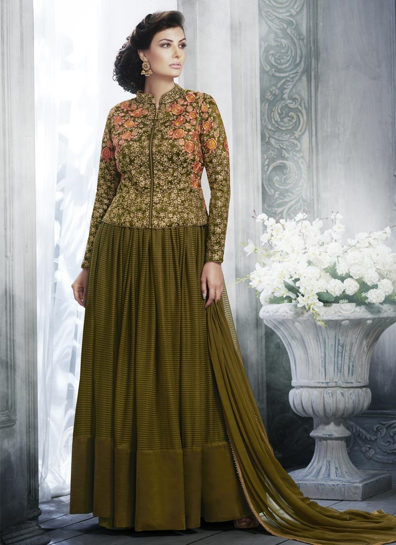 Embroidered Work Art Silk Jacket Style Floor Length Suit