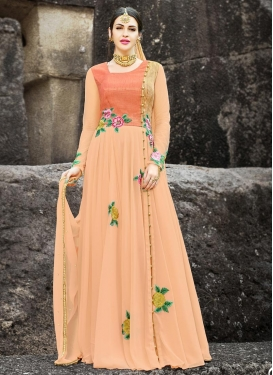 Embroidered Work Art Silk Long Length Designer Suit
