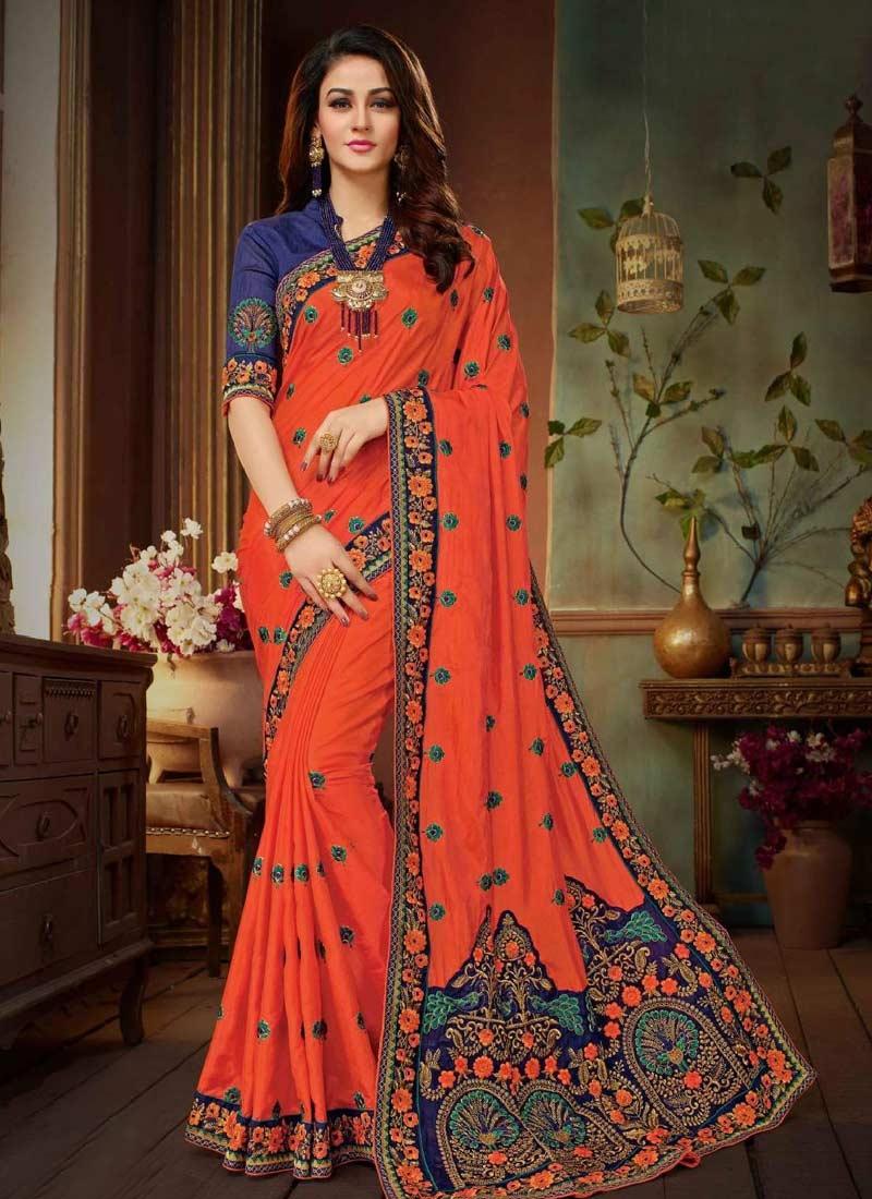 Embroidered Work Art Silk Navy Blue and Orange Trendy Saree