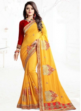 Embroidered Work Art Silk Red and Yellow Classic Saree