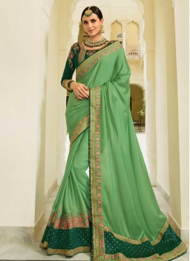 Embroidered Work Art Silk Traditional Designer Saree