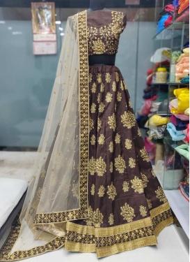 Embroidered Work Art Silk Trendy A Line Lehenga Choli