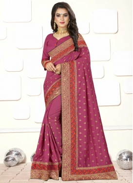 Embroidered Work Art Silk Trendy Classic Saree