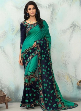 Embroidered Work Art Silk Trendy Classic Saree For Festival