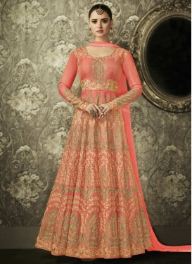 Embroidered Work Art Silk Trendy Kalidar Salwar Suit