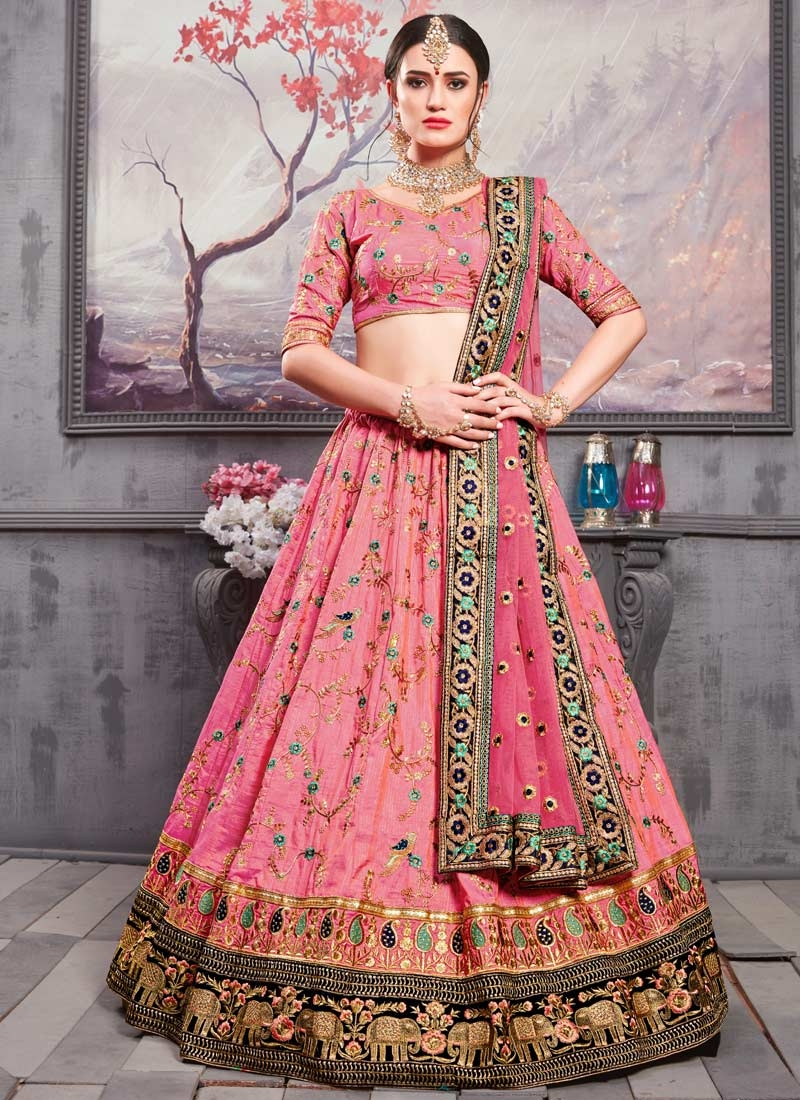 Embroidered Work Art Silk Trendy Lehenga