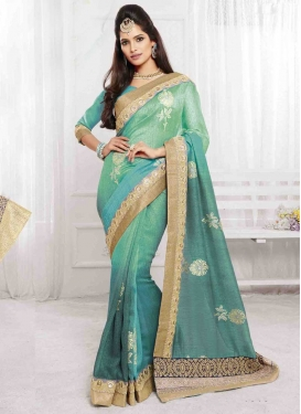 Embroidered Work Art Silk Trendy Saree