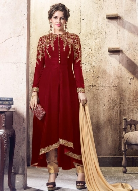 Embroidered Work Asymmetrical Designer Suit