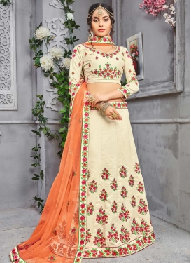 Embroidered Work Banarasi Silk A - Line Lehenga