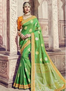 Embroidered Work Banarasi Silk Contemporary Style Saree