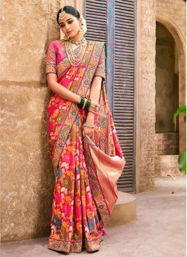 Embroidered Work Banarasi Silk Contemporary Style Saree For Bridal