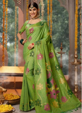 Embroidered Work Banarasi Silk Designer Contemporary Saree For Ceremonial