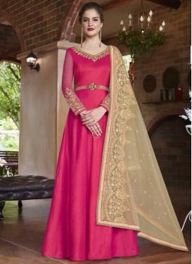 Embroidered Work Banarasi Silk Floor Length Anarkali Salwar Suit