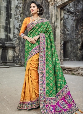 Embroidered Work Banarasi Silk Half N Half Designer Saree