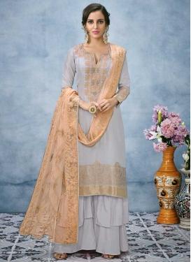 Embroidered Work Banarasi Silk Palazzo Style Pakistani Salwar Kameez