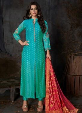 Embroidered Work Banarasi Silk Pant Style Designer Salwar Kameez