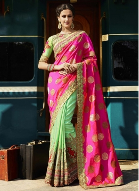 Embroidered Work Banglori Silk Half N Half Saree