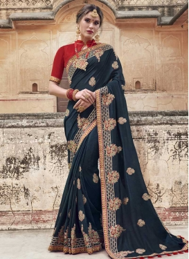 Embroidered Work Banglori Silk Trendy Saree