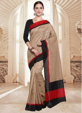 Embroidered Work Beige and Black Contemporary Style Saree