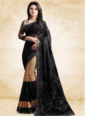 Embroidered Work Beige and Black Half N Half Trendy Saree