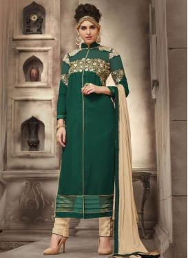 Embroidered Work Beige and Bottle Green Pant Style Pakistani Salwar Suit