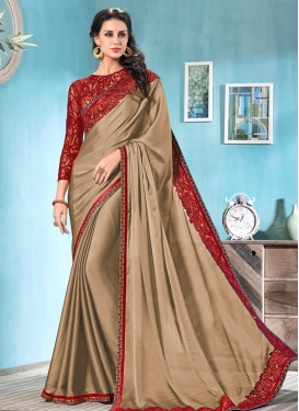 Embroidered Work Beige and Crimson Trendy Classic Saree