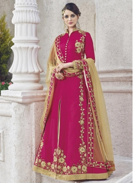 Embroidered Work Beige and Fuchsia Trendy Designer Salwar Kameez