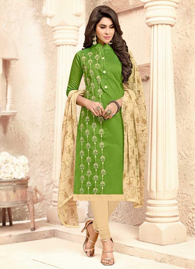 Embroidered Work Beige and Green Cotton Trendy Churidar Salwar Suit