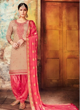 Embroidered Work Beige and Hot Pink Patiala Salwar Suit