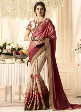 Embroidered Work Beige and Maroon  Half N Half Trendy Saree
