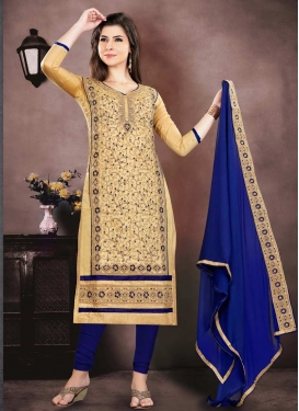 Embroidered Work Beige and Navy Blue Pakistani Straight Salwar Kameez