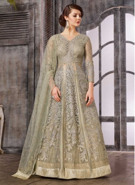 Embroidered Work Beige and Sea Green Kameez Style Lehenga Choli