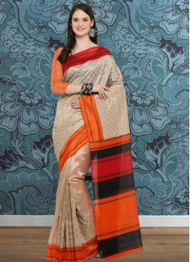 Embroidered Work Beige and Orange Contemporary Style Saree