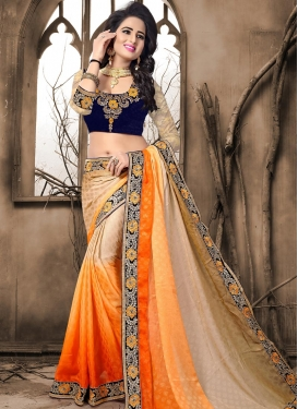 Embroidered Work Beige and Orange Trendy Saree