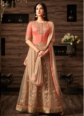Embroidered Work Beige and Peach Art Silk Salwar Kameez