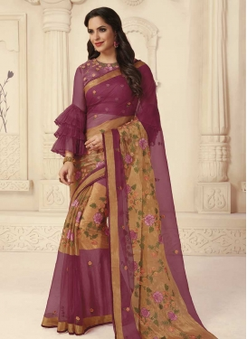 Embroidered Work Beige and Purple Trendy Classic Saree